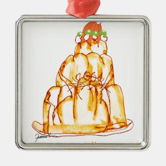 tony fernandes's orange jelly cat Silver-Colored square decoration