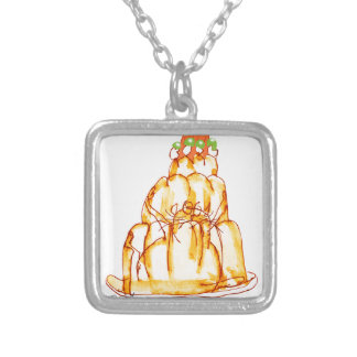 tony fernandes's orange jelly cat silver plated necklace