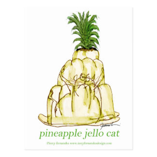 tony fernandes's pineapple jello cat postcard