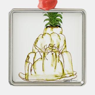 tony fernandes's pineapple jello cat Silver-Colored square decoration