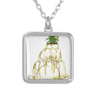 tony fernandes's pineapple jello cat silver plated necklace