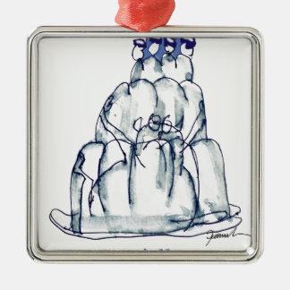 tony fernandes's prune jello cat Silver-Colored square decoration