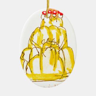 tony fernandes's quince jello cat ceramic oval decoration