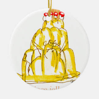 tony fernandes's quince jello cat round ceramic decoration