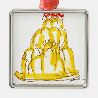 tony fernandes's quince jello cat Silver-Colored square decoration