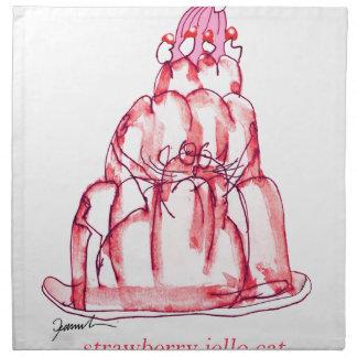 tony fernandes's strawberry jello cat napkin