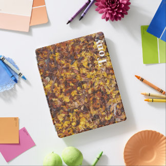 Tony IPad cover with leaf litter background