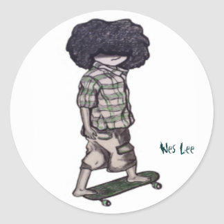 Too Cool to Skateboard Classic Round Sticker