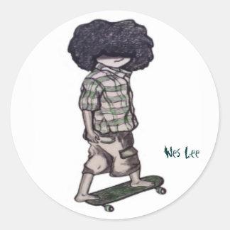 Too Cool to Skateboard Round Sticker