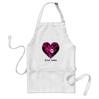 Too cute goth punk zebra heart fuschia black skull apron