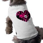 Too cute goth punk zebra heart fuschia black skull sleeveless dog shirt