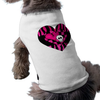 Too cute goth punk zebra heart fuschia black skull sleeveless dog shirt