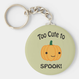 Too Cute To Spook! Little Pumpkin Basic Round Button Key Ring