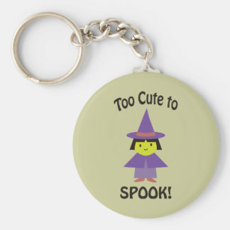 Too Cute to Spook! Little Witch Basic Round Button Key Ring