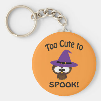Too Cute to Spook! Owl Witch Basic Round Button Key Ring