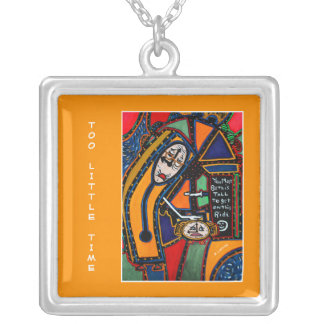 Too Little Time On Orange - Time Pieces Silver Plated Necklace