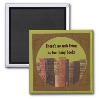 too many books square magnet