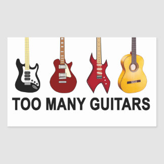 Too many guitars T-Shirt.png Rectangle Stickers