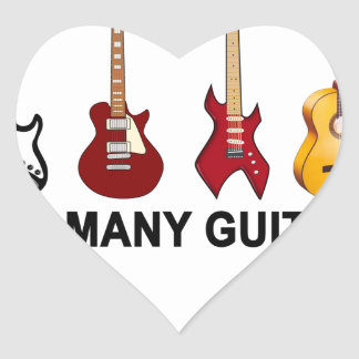 Too many guitars T-Shirt.png Heart Stickers