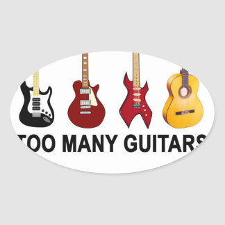 Too many guitars T-Shirt.png Oval Sticker