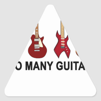 Too many guitars T-Shirt.png Triangle Stickers