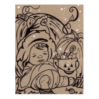 Too much Candy halloween cute postcard