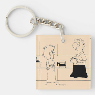 Too Much Coffee Double-Sided Square Acrylic Key Ring
