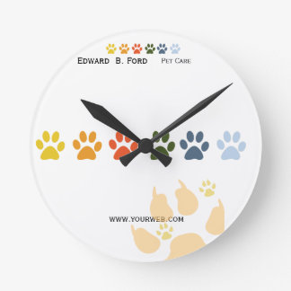 Too Much Fun  Rainbow Paws Pet  Animal Care Wall Clocks