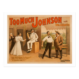 """Too much Johnson"" - Two Men Fighting Theatre Postcard"