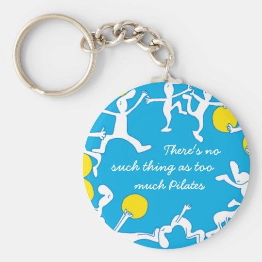 Too much Pilates keychain, blue Basic Round Button