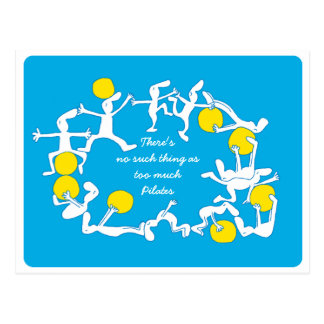 Too Much Pilates Postcard , blue
