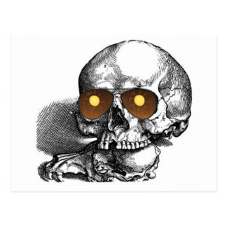 TOO MUCH SUN SKULL WITH SUNGLASSES PRINT POSTCARD