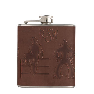 Tooled Leather Cowboys+Horses (Personalized Flask) Flasks