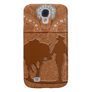 """Tooled Leather """"Cowgirl & Horse"""" Western IPhone 3 Galaxy S4 Case"""
