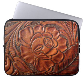 Tooled Leather Laptop Sleeve 13 Inch