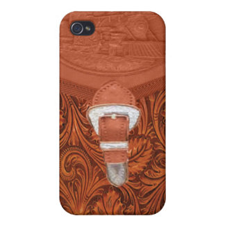 Tooled Leather Steam Engine IPhone 4 Case