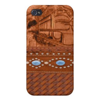Tooled Leather Train IPhone 4 Case