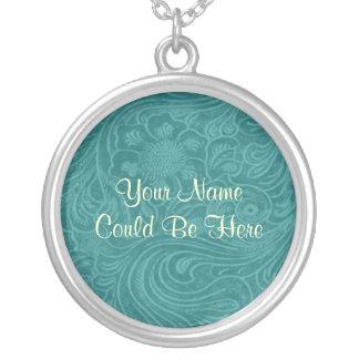 Tooled Turquoise Leather Style Round Pendant Necklace