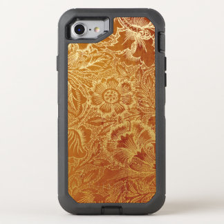Tooled Western Leather Southwestern Amber Brown OtterBox Defender iPhone 8/7 Case