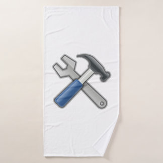 Tools, Hammer and Wrench Bath Towel