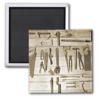 Tools on Wooden Wall Magnet
