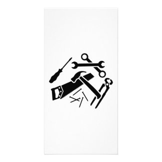 Tools saw hammer nails screwdriver personalized photo card
