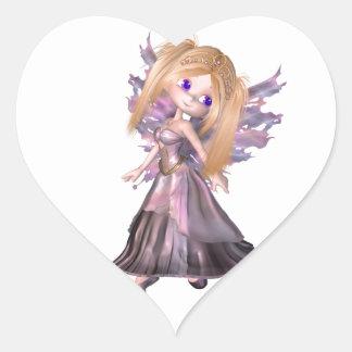 Toon Fairy Princess in Purple Dress Heart Stickers