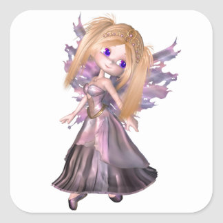 Toon Fairy Princess in Purple Dress Square Stickers