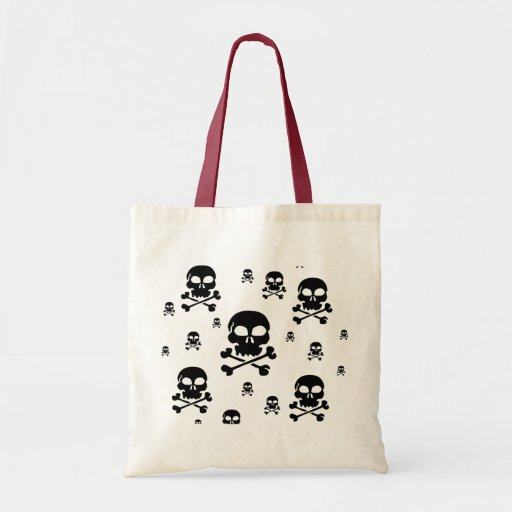 Toon Skull Collage Tote - HALLOWEEN Canvas Bags