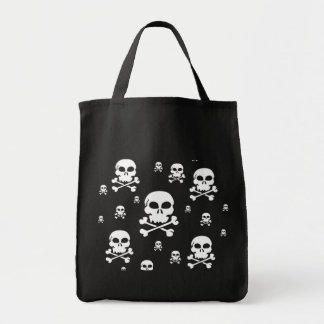 Toon Skull Collage Tote - HALLOWEEN Grocery Tote Bag