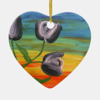 Toon Tulips at sunset Ceramic Heart Decoration