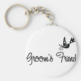 ToonDoveGroomsFriendblk Basic Round Button Key Ring