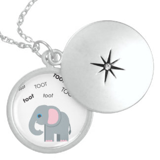 Toot Elephant Cute Emoji Sterling Silver Necklace