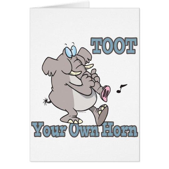 toot your own horn trunk elephant funny cartoon card